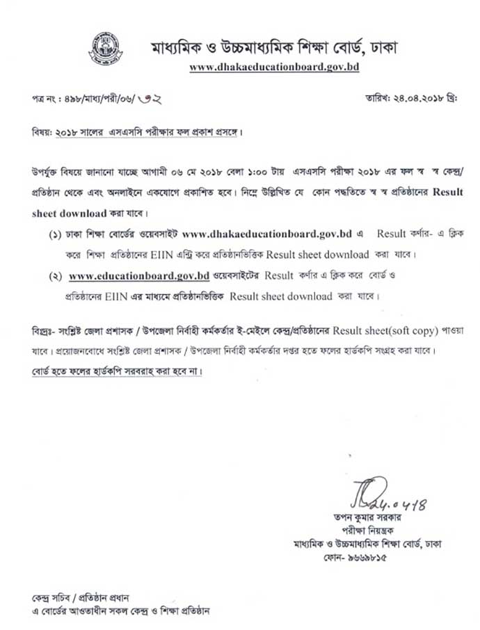 SSC Result 2019 Dhaka Board Notice