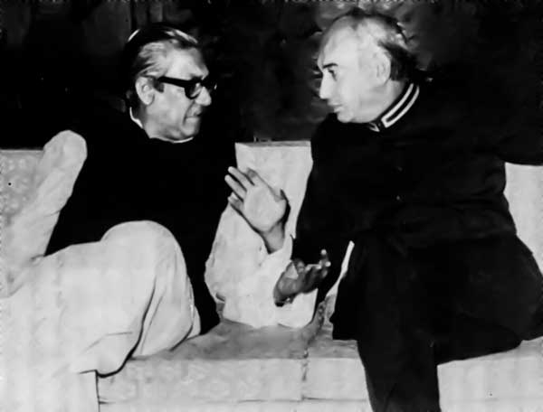 Sheikh Mujibur Rahman with Z A Bhutto